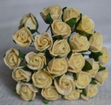 8mm CREAM SEMI-OPEN ROSE BUDS Mulberry Paper Flowers